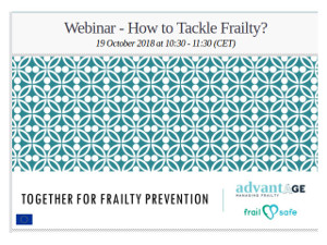 Webinar - How to Tackle Frailty? 19 October 2018 at 10:30 - 11:30 (CET)
